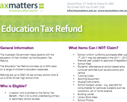 Education Tax Refund