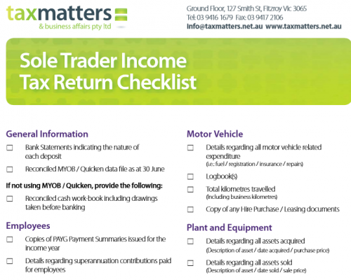 Sole Trader Tax Return Checklist