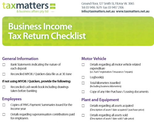 Business Tax Return Checklist