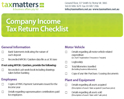 Company Tax Return Checklist