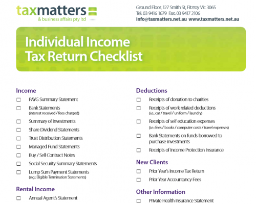 Individual Tax Return Checklist